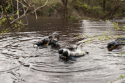 Police diver, part of the forces underwater search unit, South Yorkshire