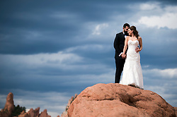 Josh, left, and Devan pose before their wedding at Garden of the Gods on Aug. 28, 2016, in Colorado Springs, Colorado.