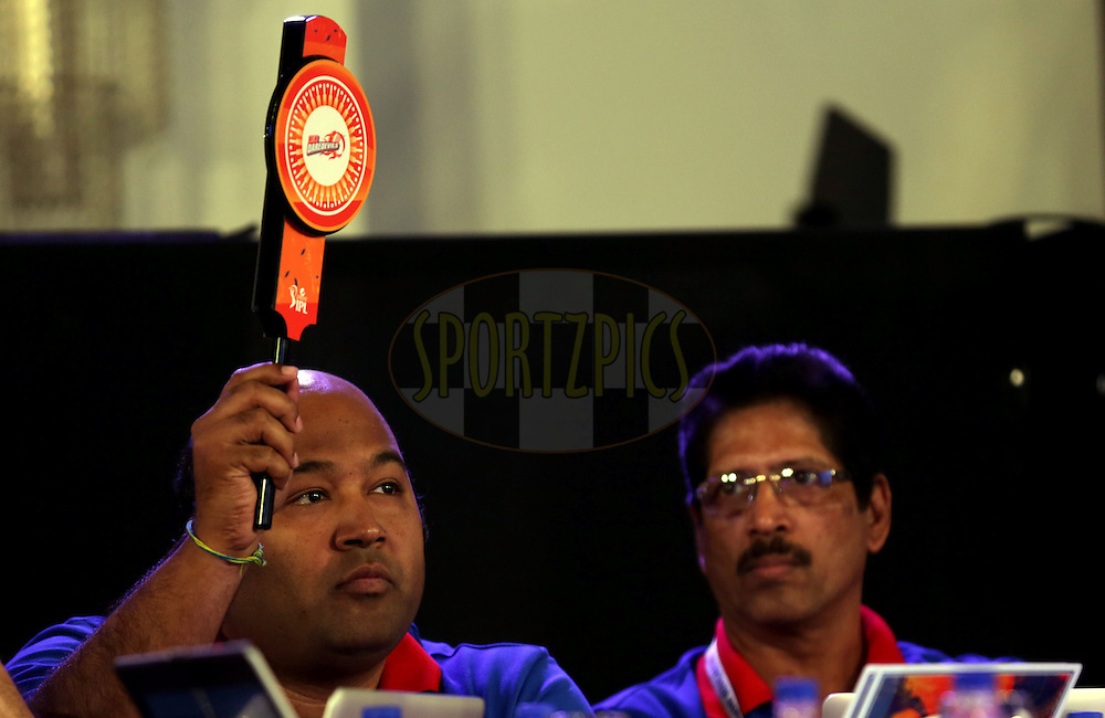 Kiran Grandhi of Delhi Daredevils during the Pepsi IPL Player Auction held at the ITC Gardenia in Bengaluru, India on the 12th February 2014<br /> <br /> Photo by Sandeep Shetty/BCCI/SPORTZPICS
