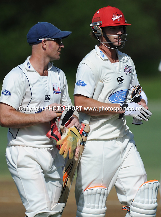 Canterbury batsman Reece Young talks to Garteh Hopkins at the tea break during the Plunket Shield domestic cricket match, Auckland Aces v Canterbury Wizards. Colin Maiden Park, Auckland. Monday 28 March 2011. Photo: Andrew Cornaga/photosport.co.nz
