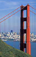 Scenic of Golden Gate Bridge as seen from the Marin Headlands. San Francisco, California.
