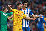 Brighton central defender Lewis Dunk keeps tight to Brighton central midfielder Dale Stephens during the Sky Bet Championship match between Brighton and Hove Albion and Preston North End at the American Express Community Stadium, Brighton and Hove, England on 24 October 2015. Photo by Bennett Dean.
