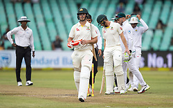 Durban. 010218. Mitchell Marsh leaves the field after bad light stopped play during the first Sunfoil Test Match played at Kingsmead in Durban. Picture Leon Lestrade/African News Agency/ANA