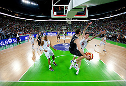 Dusan Kecman of Partizan vs Vladimir Boisa of Union Olimpija during final match of Basketball NLB League at Final four tournament between KK Union Olimpija (SLO) and Partizan Belgrade (SRB), on April 21, 2011 in Arena Stozice, Ljubljana, Slovenia.  (Photo By Vid Ponikvar / Sportida.com)