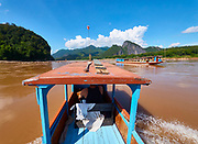 Laos. Going up the Mekong from Luang Prabang to Pak Ou.