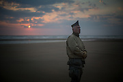 A reeancator get on Omaha beach early in the morning of the 6th of June to celebrate the 69th anniversary of the D Day
