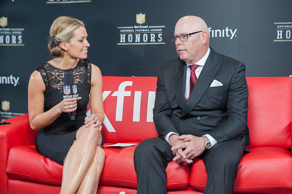 Bruce Arians being interviewed by NFL networks Alex Flanagan at the Mahalia Jackson Theatre NFL Honors in New Orleans, Louisiana on Feb.2 2013.1