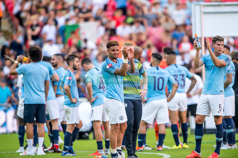 August 5, 2018 - Kyle Walker of Manchester City celebrates during the 2018 FA Community Shield match between Chelsea and Manchester City at Wembley Stadium, London, England on 5 August 2018. (Credit Image: © AFP7 via ZUMA Wire)