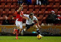 Luke Freeman of Bristol City is challenged by Liam Nolan of Crewe Alexandra - Photo mandatory by-line: Rogan Thomson/JMP - 07966 386802 - 20/12/2014 - SPORT - FOOTBALL - Crewe, England - Alexandra Stadium - Crewe Alexandra v Bristol City - Sky Bet League 1.