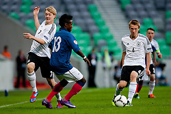 Louis Nganioni of France vs Julian Brandt of Germany and Nico Brandenburger of Germany during the UEFA European Under-17 Championship Group A match between Germany and France on May 10, 2012 in SRC Stozice, Ljubljana, Slovenia. (Photo by Matic Klansek Velej / Sportida.com)
