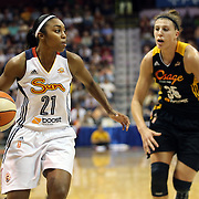 Renee Montgomery, (left), Connecticut Sun, drives past Jordan Hooper, Tulsa Shock, during the Connecticut Sun Vs Tulsa Shock WNBA regular season game at Mohegan Sun Arena, Uncasville, Connecticut, USA. 3rd July 2014. Photo Tim Clayton