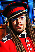 Character in dread locks and army  fancy dress at the Cardiff Festival, UK September 2005