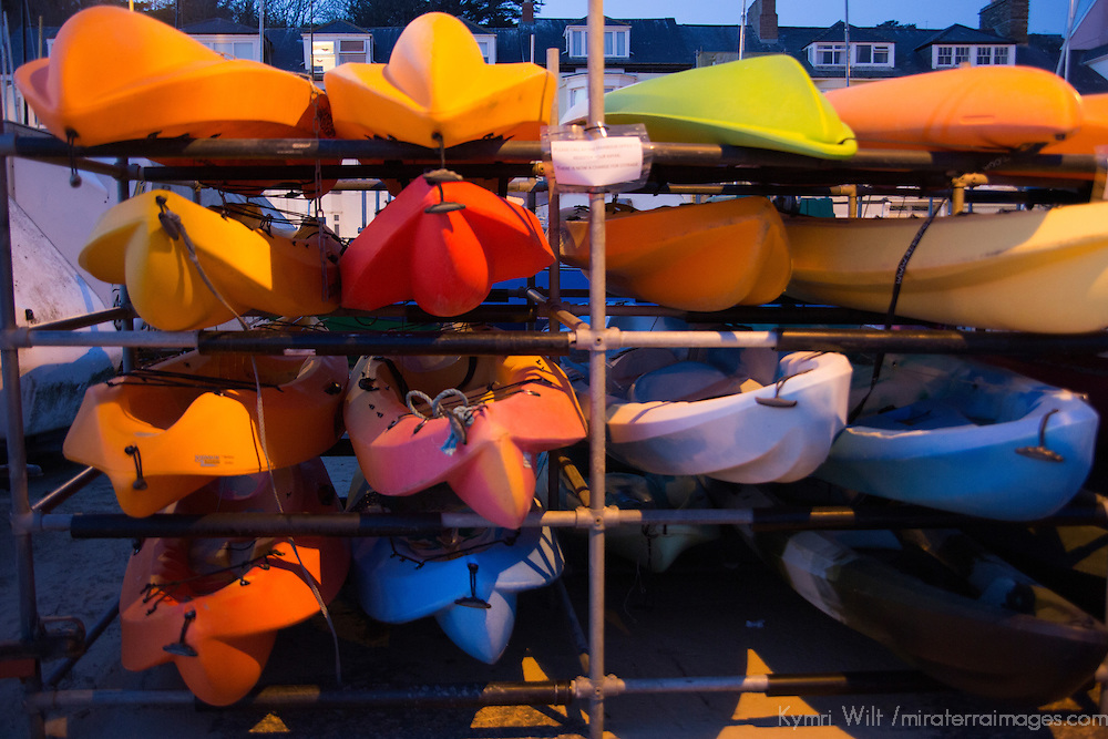 Europe, Great Britain, Wales. Kayaks in Aberdovey, Wales.