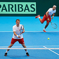 Sopot, Poland - 2018 April 08: Marcin Matkowski and (UP) Lukasz Kubot both from Poland while Men's Double Match Nr 3 during Poland v Zimbabwe Tie Group 2, Europe/Africa Second Round of Davis Cup by BNP Paribas at 100 years of Sopot Hall on April 08, 2018 in Sopot, Poland.<br /> <br /> Mandatory credit:<br /> Photo by © Adam Nurkiewicz / Mediasport<br /> <br /> Adam Nurkiewicz declares that he has no rights to the image of people at the photographs of his authorship.<br /> <br /> Picture also available in RAW (NEF) or TIFF format on special request.<br /> <br /> Any editorial, commercial or promotional use requires written permission from the author of image.
