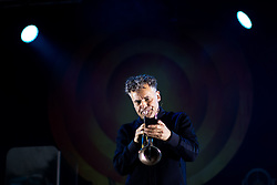 """© Licensed to London News Pictures . 07/07/2017 . Manchester , UK . ANDY DIAGRAM . """" James """" perform live at the Castlefield Bowl as part of Sounds of the City , during the Manchester International Festival . Photo credit : Joel Goodman/LNP"""