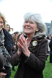 JILLY COOPER at the Hennessy Gold Cup at Newbury Racecourse, Berkshire on 26th November 2011.