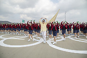 The Olympic Torch Relay, Nov 1, 2017 : People dance before the Olympic Torch Relay on the Incheon Bridge in Incheon, west of Seoul, South Korea. The Olympic flame arrived in Incheon, South Korea on Wednesday and it is going to be passed across the country during a 100-day tour until the opening ceremony of the 2018 PyeongChang Winter Olympics which will be held for 17 days from February 9 - 25, 2018.  Photo by Lee Jae-Won (SOUTH KOREA) www.leejaewonpix.com