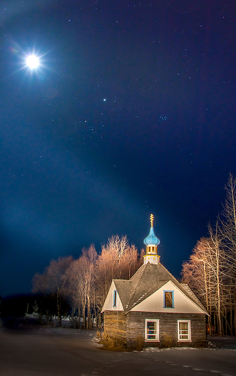 Light painting with a flood light and a long exposure makes the Russian Memorial Chapel stand out after dark.