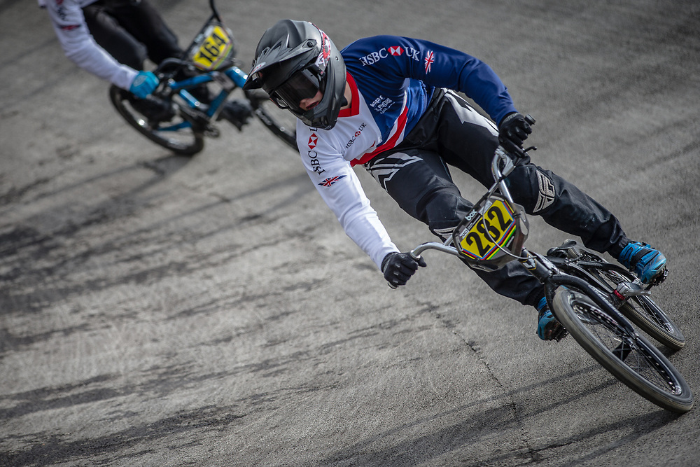 #282 during practice at the 2018 UCI BMX World Championships in Baku, Azerbaijan.