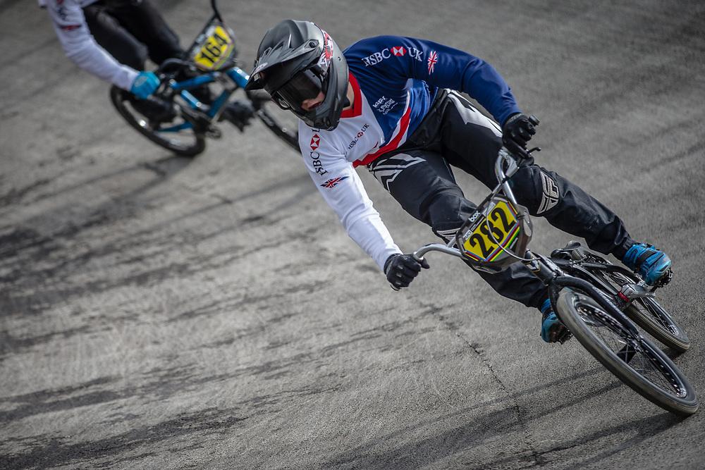 #282 during practice at the 2018 UCI BMX World Championships in Baku, Azerbaijan.