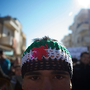 January 20, 2012 - Idleb, Syria: A Syrian man takes part in a anti-regime demonstration in central Taftanaz.