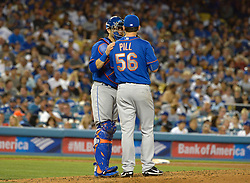 June 21, 2017 - Los Angeles, California, U.S. - tpm56n\ along with catcher Travis d'Arnaud during a Major League baseball game against the New York Mets at Dodger Stadium on Wednesday, June 21, 2017 in Los Angeles. Los Angeles. (Photo by Keith Birmingham, Pasadena Star-News/SCNG) (Credit Image: © San Gabriel Valley Tribune via ZUMA Wire)