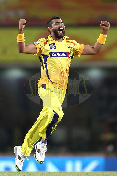 Ravindra Jadeja of The Chennai Super Kings celebrates getting Suryakumar Yadav of the Kolkata Knight Riders wicket during match 21 of the Pepsi Indian Premier League Season 2014 between the Chennai Superkings and the Kolkata Knight Riders  held at the JSCA International Cricket Stadium, Ranch, India on the 2nd May  2014<br /> <br /> Photo by Shaun Roy / IPL / SPORTZPICS<br /> <br /> <br /> <br /> Image use subject to terms and conditions which can be found here:  http://sportzpics.photoshelter.com/gallery/Pepsi-IPL-Image-terms-and-conditions/G00004VW1IVJ.gB0/C0000TScjhBM6ikg