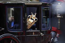 © Licensed to London News Pictures. 14/10/2019. London, UK. The carriages carrying The Mace and The Crown are seen before Queen Elizabeth II rides the Diamond Jubilee Coach along The Mall to The Palace of Westmnster for the State Opening of Parliament. Photo credit: Peter Macdiarmid/LNP