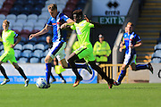 Joe Bunney, Leanardo da Silva Lopez during the EFL Sky Bet League 1 match between Rochdale and Peterborough United at Spotland, Rochdale, England on 6 August 2016. Photo by Daniel Youngs.