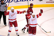 Apr 23, 2010; Glendale, AZ, USA; Detroit Red Wings center Johan Franzen (93) and left wing Tomas Holmstrom (96) celebrate after teammate center Pavel Datsyuk (13) , not pictured, scores a goal during the third period of game five in the first round of the 2010 Stanley Cup Playoffs at Jobing.com Arena.  Mandatory Credit: Jennifer Stewart-US PRESSWIRE