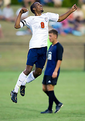 Virginia Cavaliers forward/midfielder Ross LaBauex (8) celebrates after scoring on a diving header against ODU.  The Virginia Cavaliers defeated the Old Dominion Monarchs 3-0 in a pre-season NCAA Men's Soccer exhibition game held at Klockner Stadium on the Grounds of the University of Virginia in Charlottesville, VA on August 23, 2008.