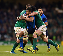 Wesley Fofana of France is tackled by Sean O'Brien of Ireland  - Mandatory byline: Patrick Khachfe/JMP - 07966 386802 - 11/10/2015 - RUGBY UNION - Millennium Stadium - Cardiff, Wales - France v Ireland - Rugby World Cup 2015 Pool D.