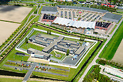 Nederland, Flevoland, Lelystad, 08-09-2009. Intermetzo (instelling voor jeugdzorg). In de achtergrond Woonboulevard Palazzo Lelystad.<br /> Shopping mall in new polder.<br /> luchtfoto (toeslag op standard tarieven);<br /> aerial photo (additional fee required);<br /> copyright foto/photo Siebe Swart
