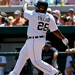 March 26, 2012; Lakeland, FL, USA; Detroit Tigers first baseman Prince Fielder (28) strikes out during the bottom of the first inning of a spring training game against the Miami Marlins at Joker Marchant Stadium. Mandatory Credit: Derick E. Hingle-US PRESSWIRE