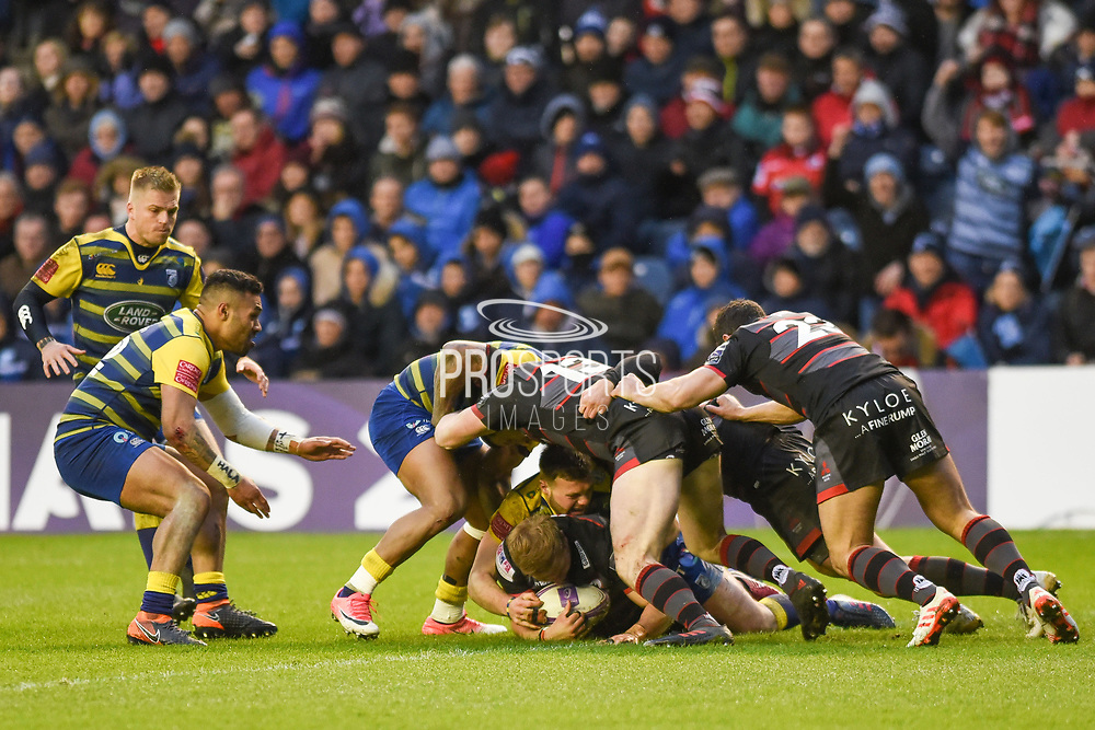 Edinburgh were too slow at the breakdown during the European Rugby Challenge Cup match between Edinburgh Rugby and Cardiff Blues at BT Murrayfield Stadium, Edinburgh, Scotland on 31 March 2018. Picture by Kevin Murray.