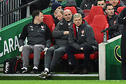 Arsenal manager Arsene Wenger looks on from the dugout during the EFL Cup Final match between Arsenal and Manchester City at Wembley Stadium, London, England on 25 February 2018. Picture by Graham Hunt.