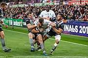 Dan Biggar and Rhys Webb of Ospreys hold up Paul Jedrasiak of ASM Clermont Auvergneduring the European Rugby Challenge Cup match between Ospreys and ASM Clermont Auvergne at The Liberty Stadium, Swansea on 15 October 2017. Photo by Andrew Lewis.