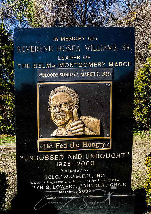 A plaque honors civil rights activist, Rev. Hosea Williams Sr., at Civil Rights Memorial Park, Feb. 7, 2015, in Selma, Alabama. The park was established in 2001 and includes murals and plaques honoring those who led the Civil Rights movement in Selma in the 1960's. (Photo by Carmen K. Sisson/Cloudybright)