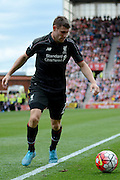James Milner on the attack during the Barclays Premier League match between Stoke City and Liverpool at the Britannia Stadium, Stoke-on-Trent, England on 9 August 2015. Photo by Alan Franklin.