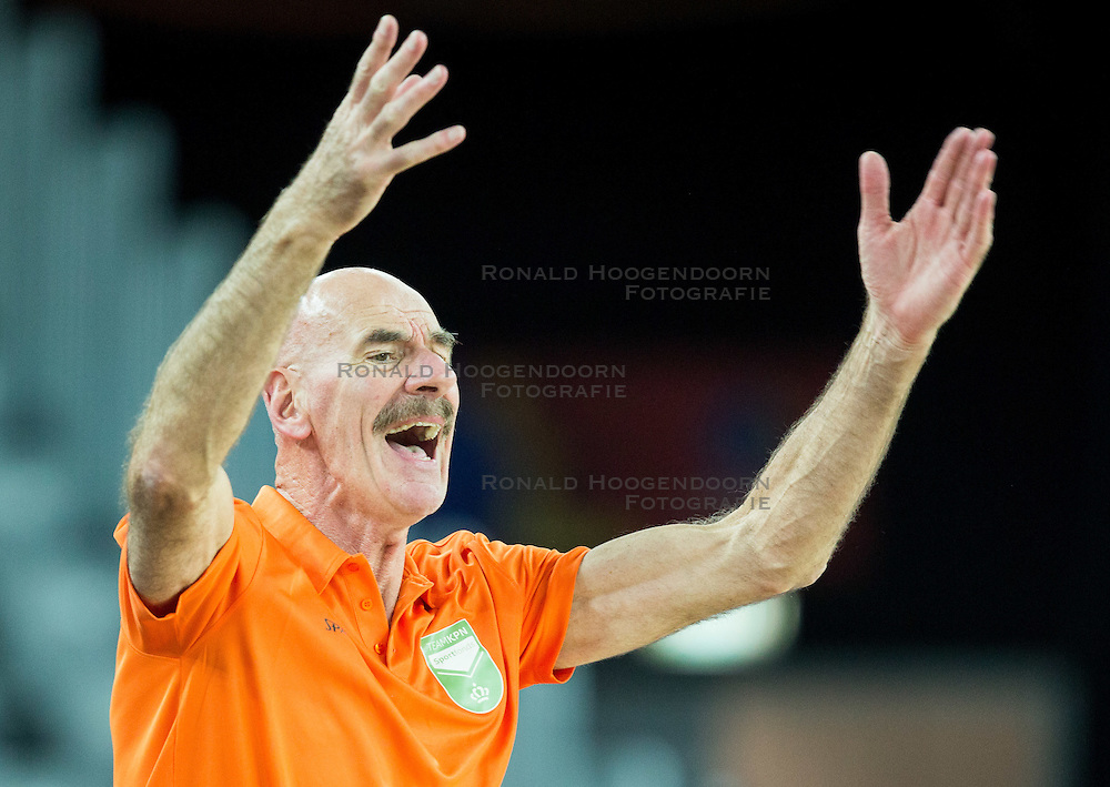 06-09-2015 CRO: FIBA Europe Eurobasket 2015 Nederland - Macedonie, Zagreb<br /> Toon van Helfteren, head coach of Netherlands during basketball match between Netherlands and Macedonia at Day 2 in Group C of FIBA Europe Eurobasket 2015, on September 6, 2015, in Arena Zagreb, Croatia. Photo by Vid Ponikvar / RHF