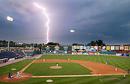 Lightning strikes as a storm rolls in on Sovereign Bank Stadium during the Rev's final game of a three game homestand against the Southern Maryland Blue Crabs, Monday August 1, 2011. Play was not delayed by the storm..John A. Pavoncello photo