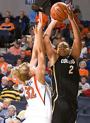 Colorado guard Bianca Smith (2) shoots over Virginia forward Jayna Hartig (32).  The #16 ranked Virginia Cavaliers women's basketball team defeated the Colorado Buffaloes 77-43 at the John Paul Jones Arena on the Grounds of the University of Virginia in Charlottesville, VA on November 24, 2008.