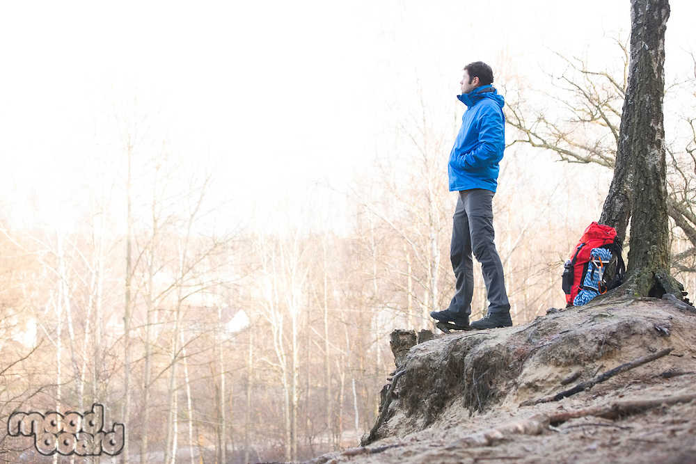 Side view of hiker standing on edge of cliff in forest
