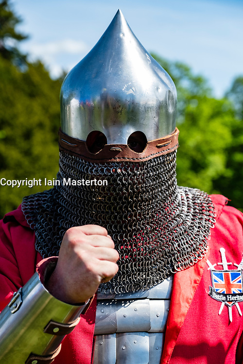 English knight portrait during the  International Medieval Combat Federation (IMCF) World Championships  at Scone Palace on May 12, 2018 at Scone Palace in Perth, Scotland.
