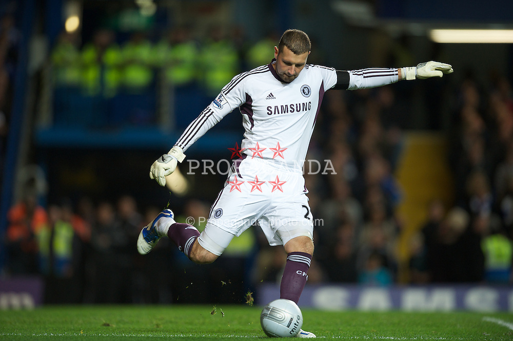 LONDON, ENGLAND - Tuesday, November 29, 2011: Chelsea's goalkeeper Ross Turnbull in action against Liverpool during the Football League Cup Quarter-Final match at Stamford Bridge. (Pic by David Rawcliffe/Propaganda)