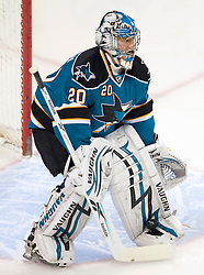 April 16, 2010; San Jose, CA, USA; San Jose Sharks goaltender Evgeni Nabokov (20) makes a save during pre-game warm ups before game two in the first round of the 2010 Stanley Cup Playoffs against the Colorado Avalanche at HP Pavilion.  The Sharks defeated the Avalanche 6-5 in overtime. Mandatory Credit: Jason O. Watson / US PRESSWIRE