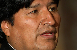 BRUSSELS, BELGIUM - MAY-16-2006 - Evo Morales, President of Bolivia, speaks during a press conference in Brussels. Morales held talks with top Belgian government officials Tuesday on his energy nationalization plans. Morales had addressed lawmakers at the European Parliament in Strasbourg, France, on Monday, telling them he would not prevent European energy companies from investing in Bolivia. Earlier this month, he had announced plans to nationalize his South American country's natural gas and oil sector, causing widespread concern that was voiced during last week's EU-Latin America summit. EU leaders urged him not to adopt protectionist economic policies, which they said could be detrimental in fighting poverty and act as a deterrent to foreign investors. Bolivia has the second-largest natural gas reserves in South America, after Venezuela, reports the AP.(PHOTO © JOCK FISTICK)