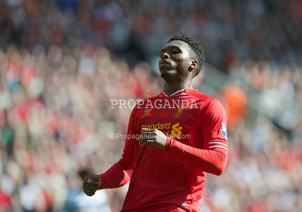 LIVERPOOL, ENGLAND - Sunday, May 19, 2013: Liverpool's Daniel Sturridge in action against Queens Park Rangers during the final Premiership match of the 2012/13 season at Anfield. (Pic by David Rawcliffe/Propaganda)