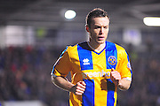 Shaun Whalley of Shrewsbury Town during the Sky Bet League 1 match between Shrewsbury Town and Coventry City at Greenhous Meadow, Shrewsbury, England on 8 March 2016. Photo by Mike Sheridan.