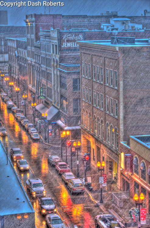 Snow falling on Gay Street in downtown Knoxville, Tn.